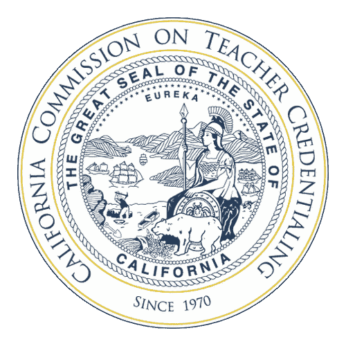 California Commission on Teacher Credentialing badge.